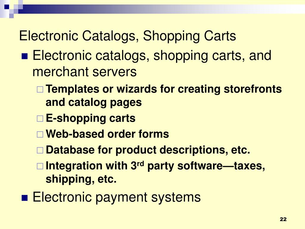 Electronic Catalogs, Shopping Carts