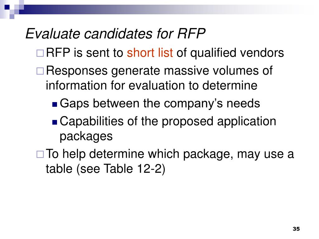 Evaluate candidates for RFP