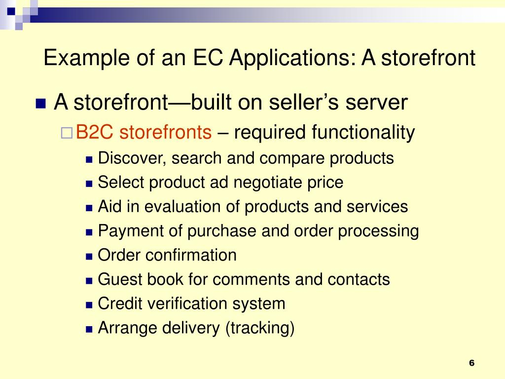Example of an EC Applications: A storefront