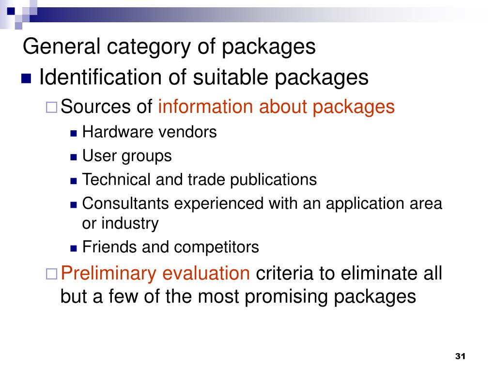 General category of packages