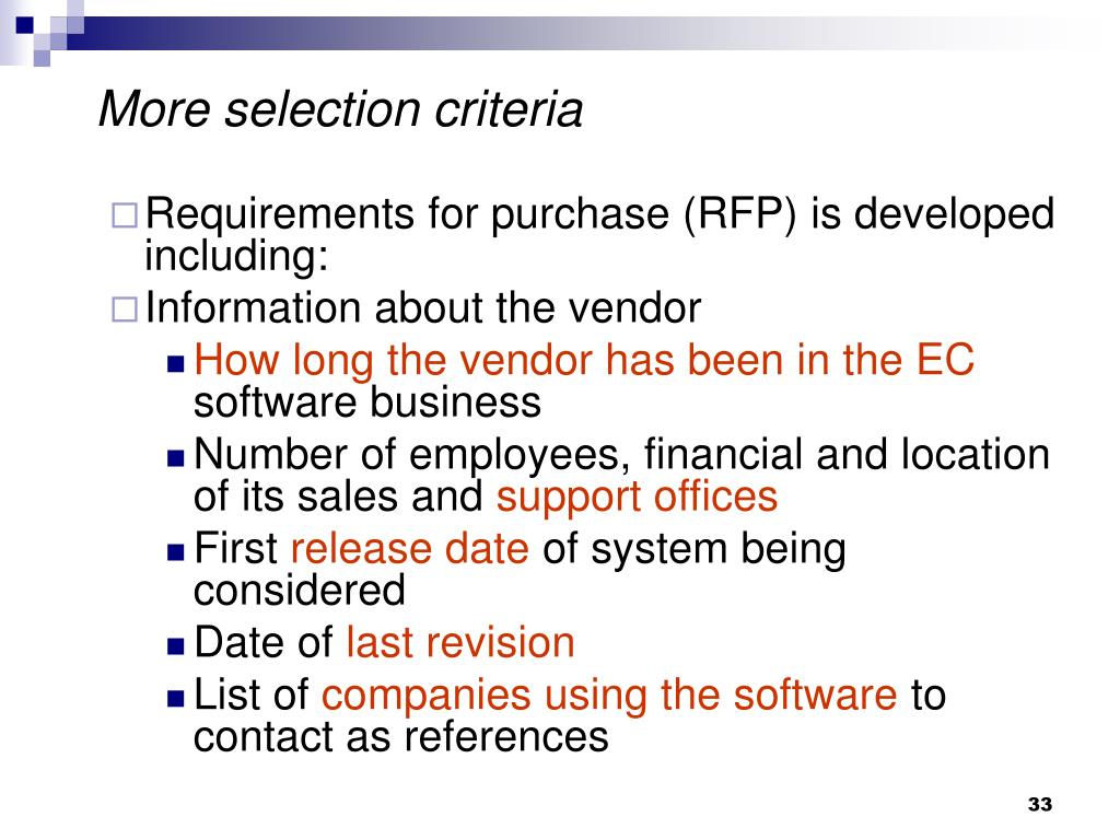 More selection criteria