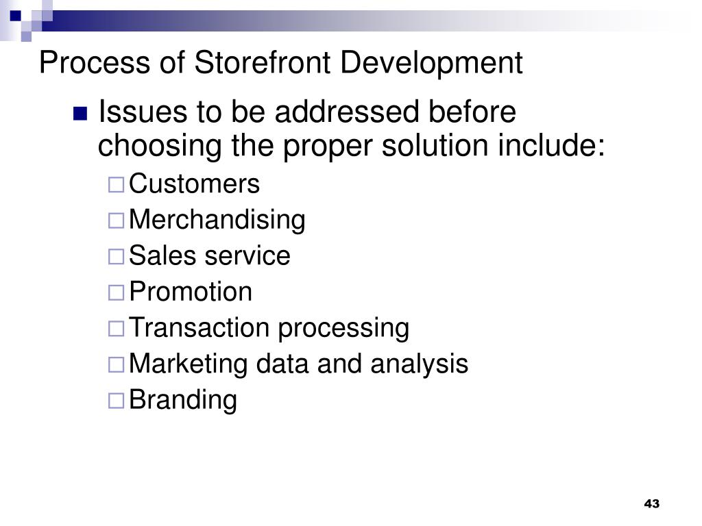 Process of Storefront Development