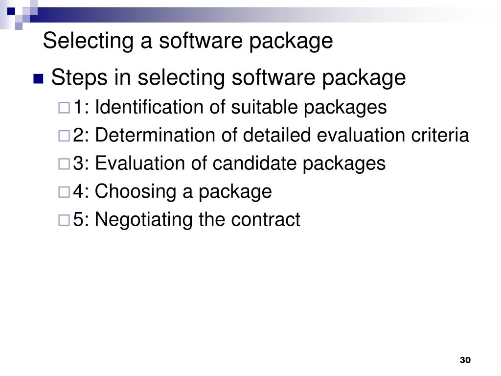Selecting a software package