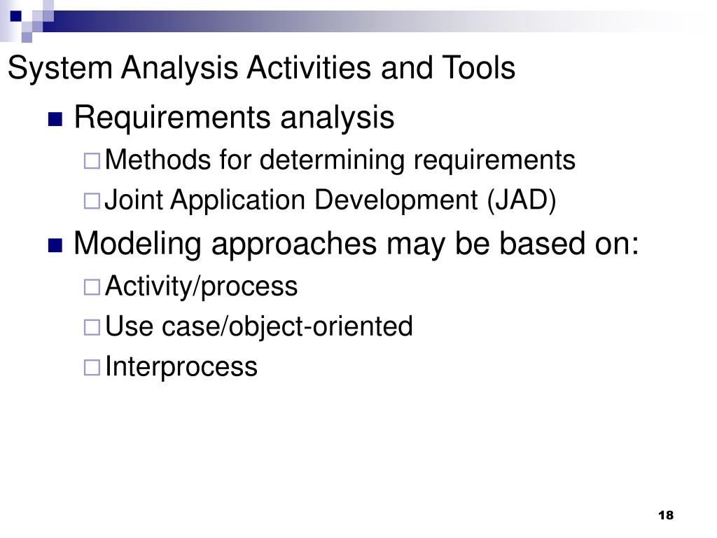 System Analysis Activities and Tools