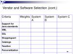 vendor and software selection cont