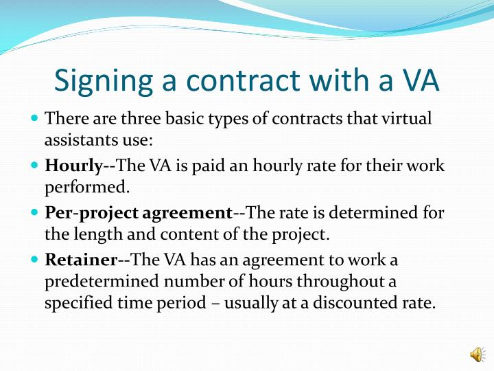 Signing a contract with a VA