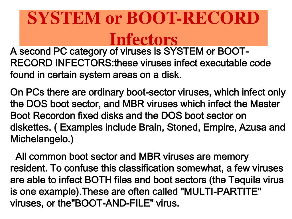 SYSTEM or BOOT-RECORD