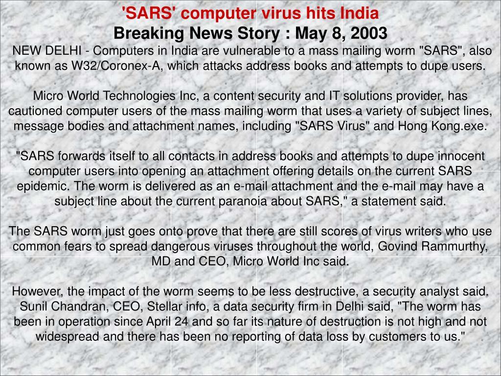 'SARS' computer virus hits India