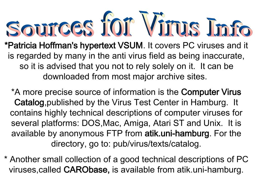Sources for Virus Info