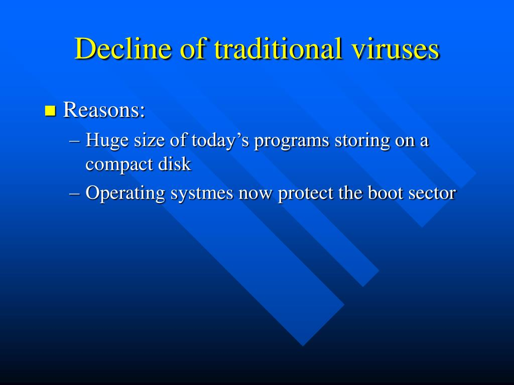 Decline of traditional viruses