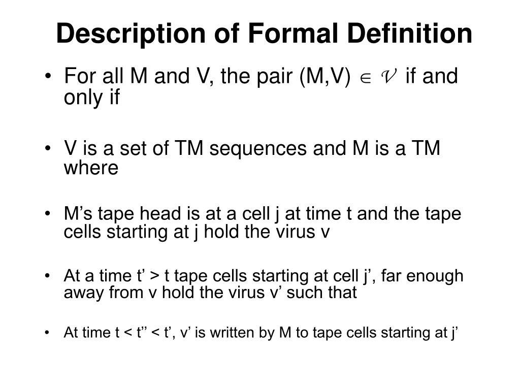 Description of Formal Definition