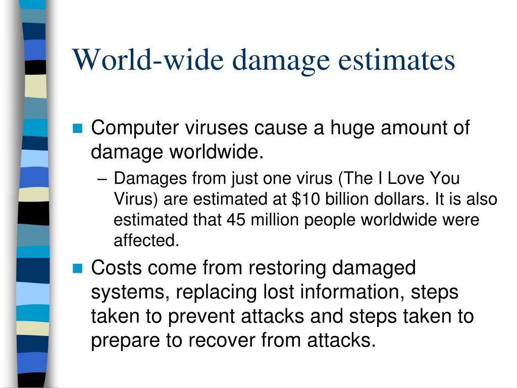 World-wide damage estimates