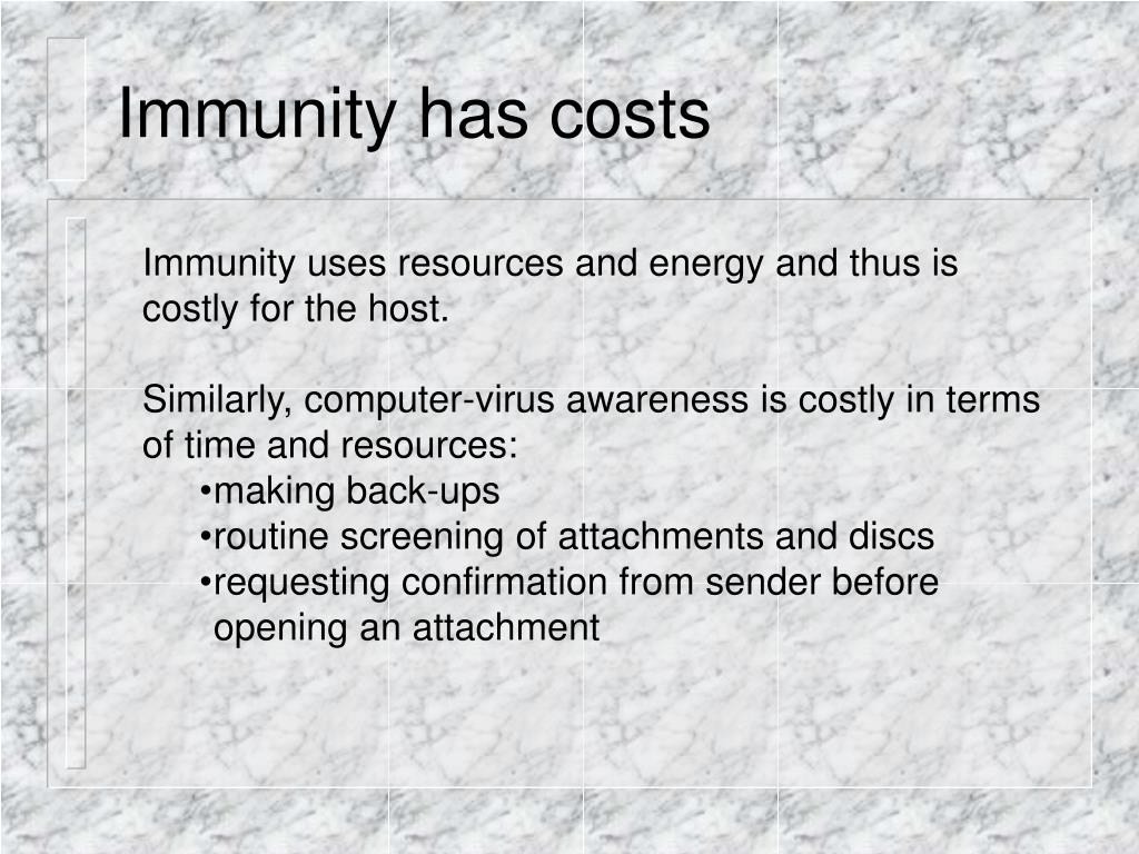 Immunity has costs