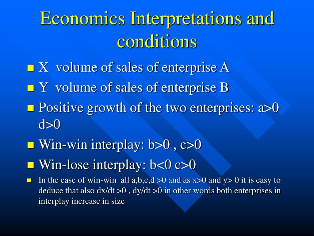 Economics Interpretations and conditions