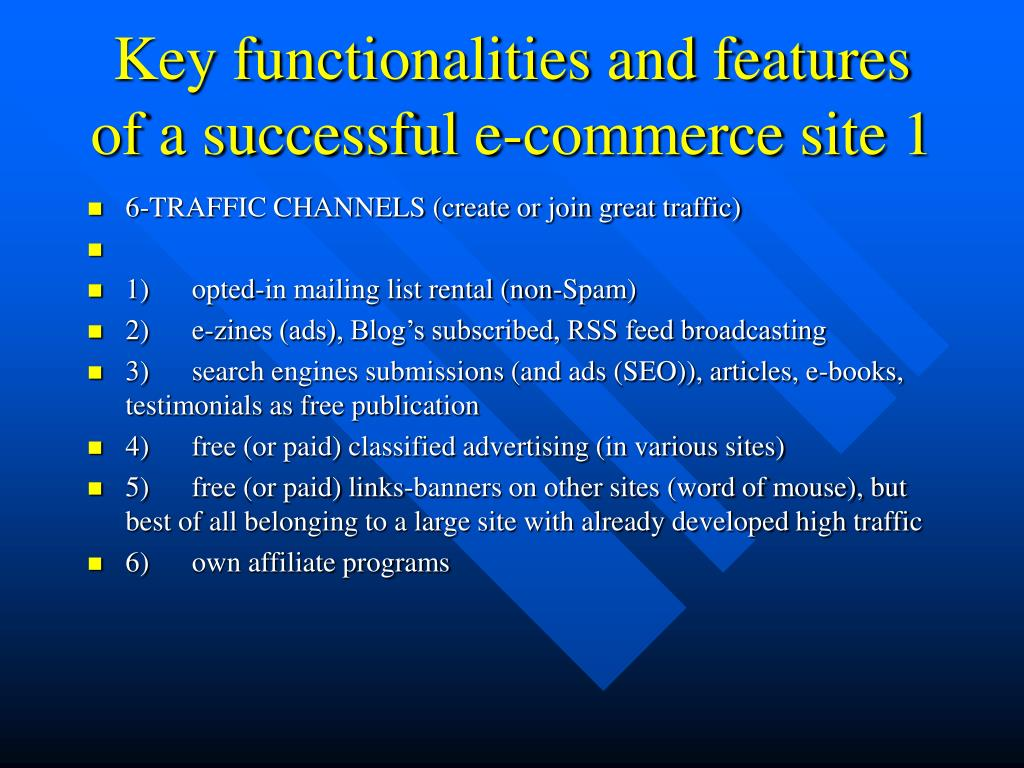 Key functionalities and features of a successful e-commerce site 1