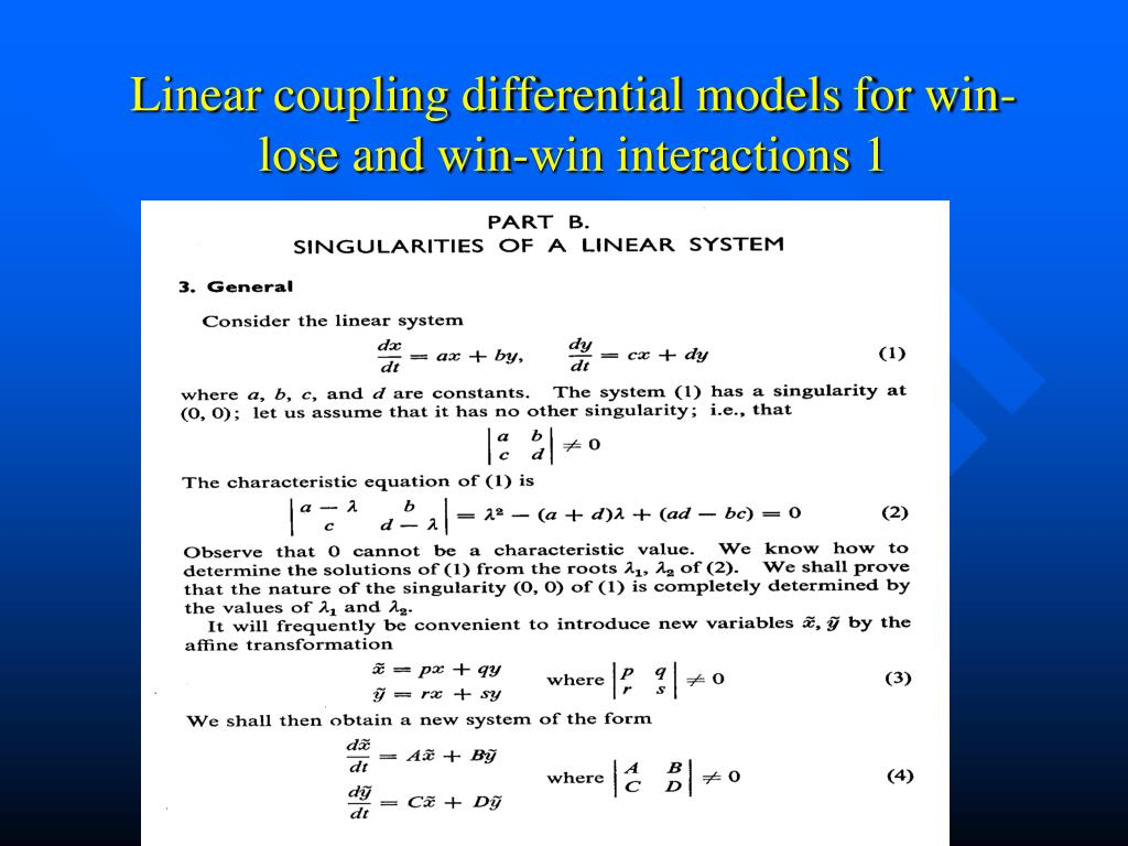 Linear coupling differential models for win-lose and win-win interactions 1