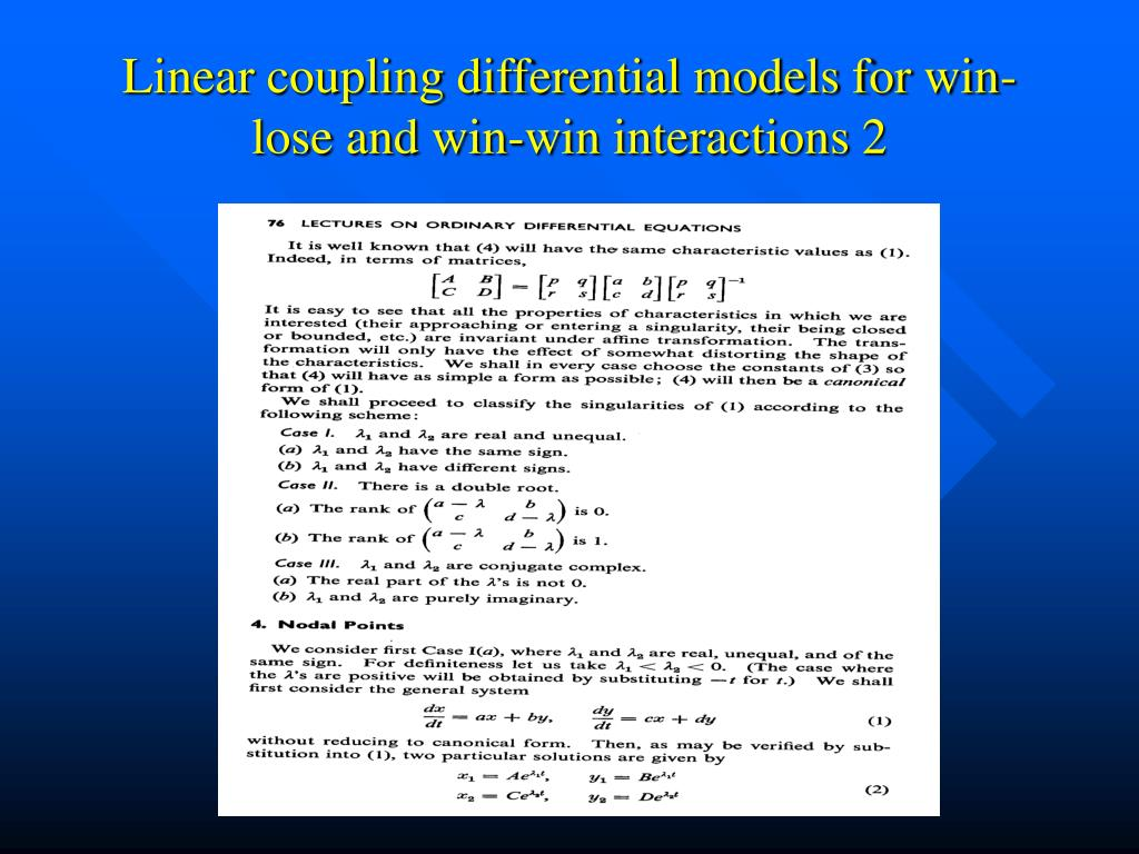 Linear coupling differential models for win-lose and win-win interactions 2