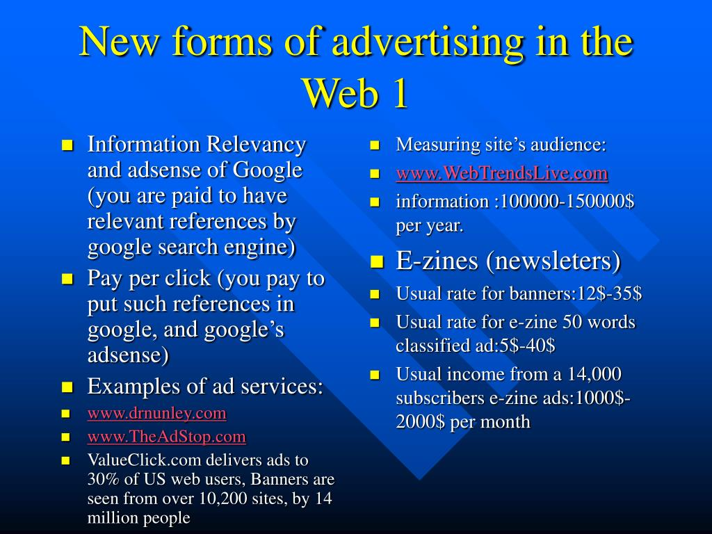 Information Relevancy and adsense of Google (you are paid to have relevant references by google search engine)