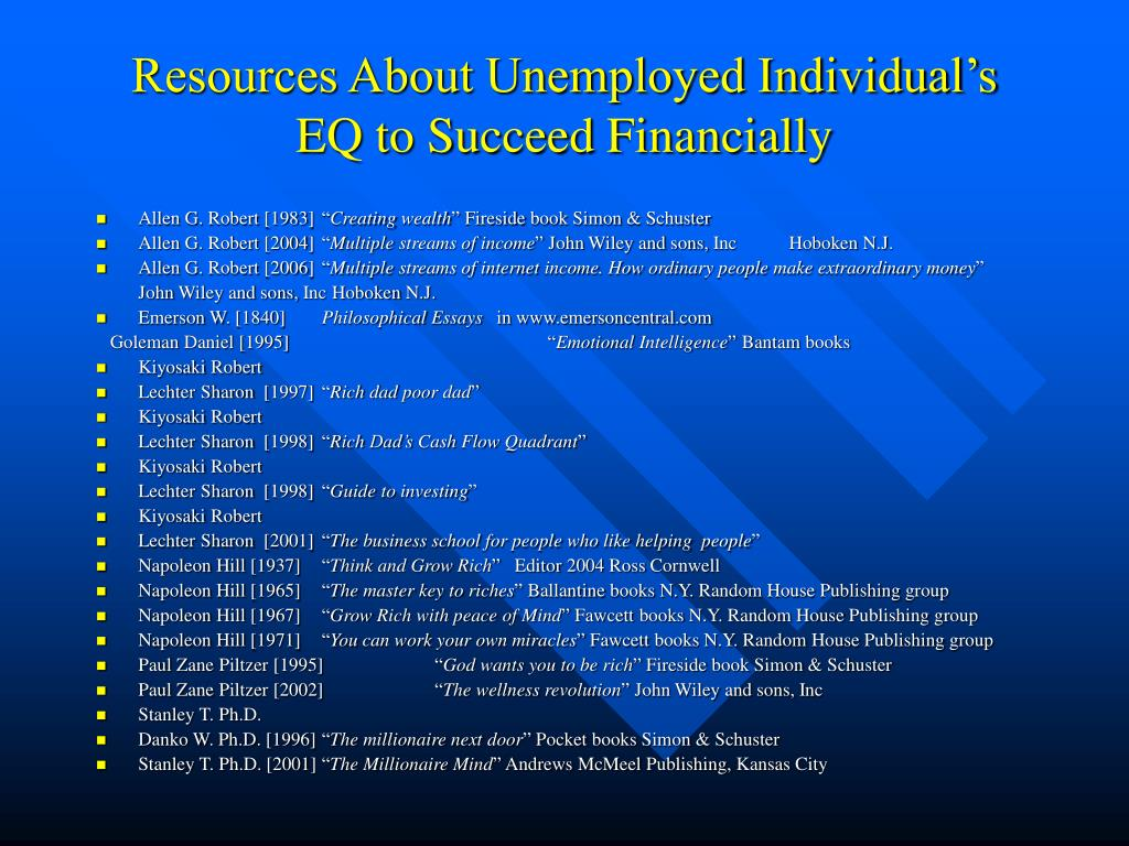Resources About Unemployed Individual's EQ to Succeed Financially