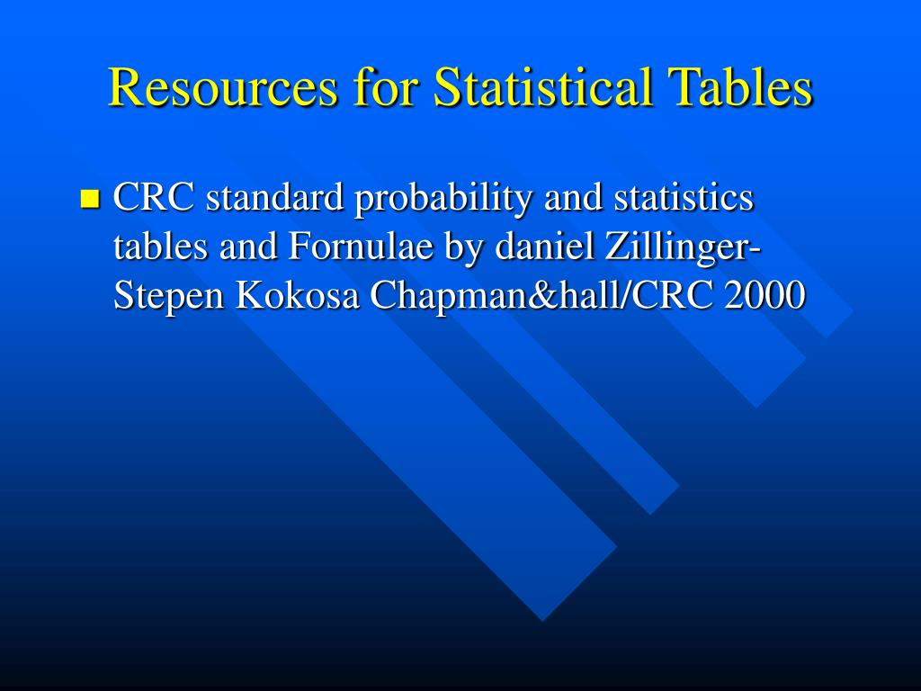 Resources for Statistical Tables
