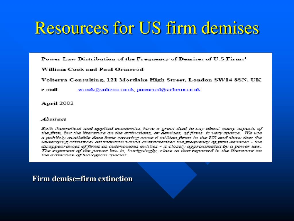 Resources for US firm demises