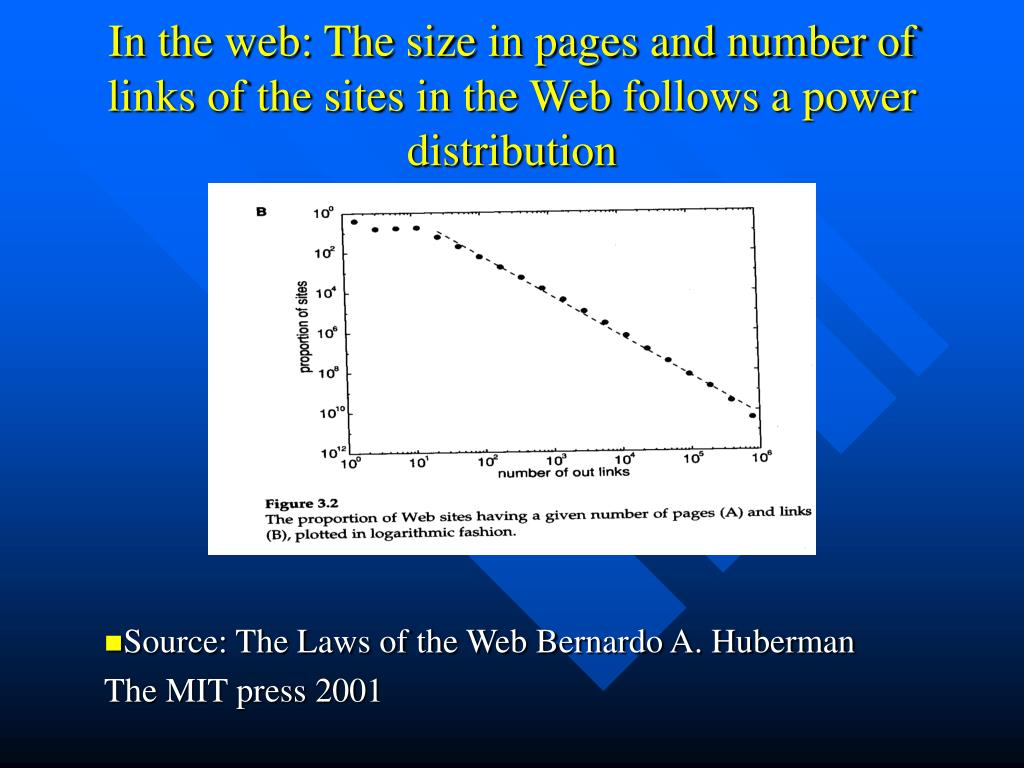 In the web: The size in pages and number of links of the sites in the Web follows a power distribution