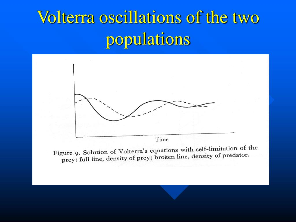 Volterra oscillations of the two populations
