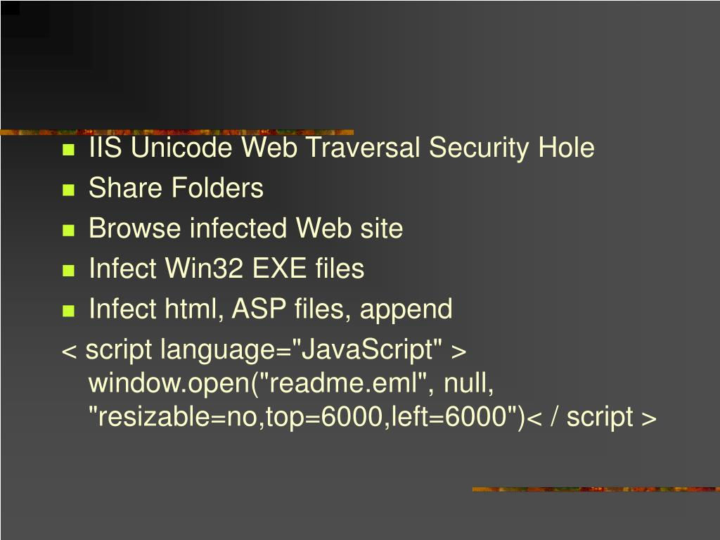 IIS Unicode Web Traversal Security Hole