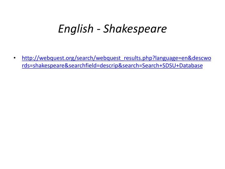 English - Shakespeare