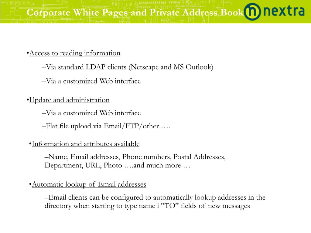 Corporate White Pages and Private Address Book