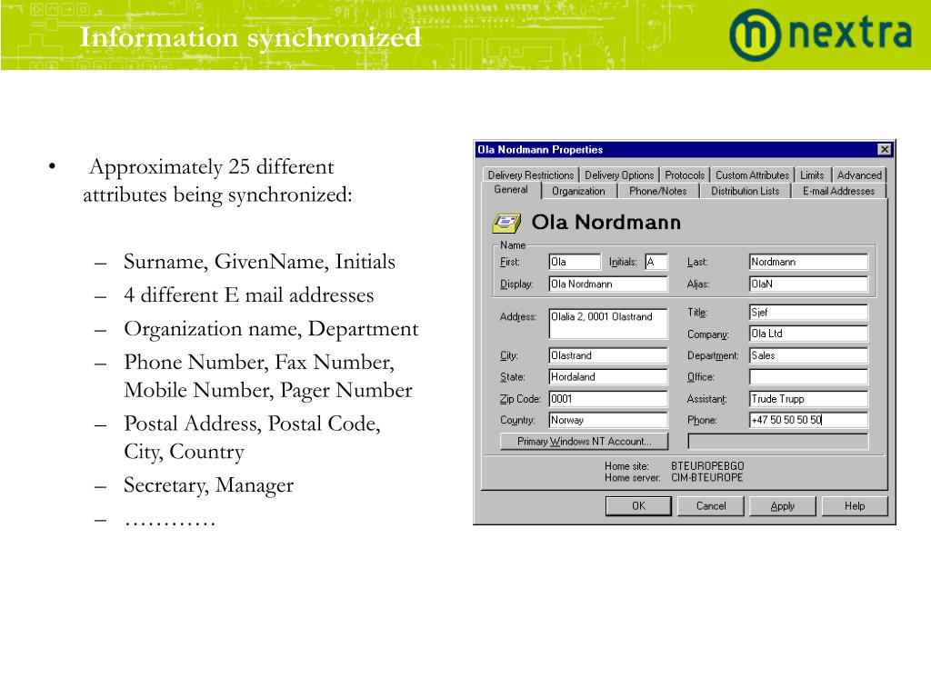 Information synchronized