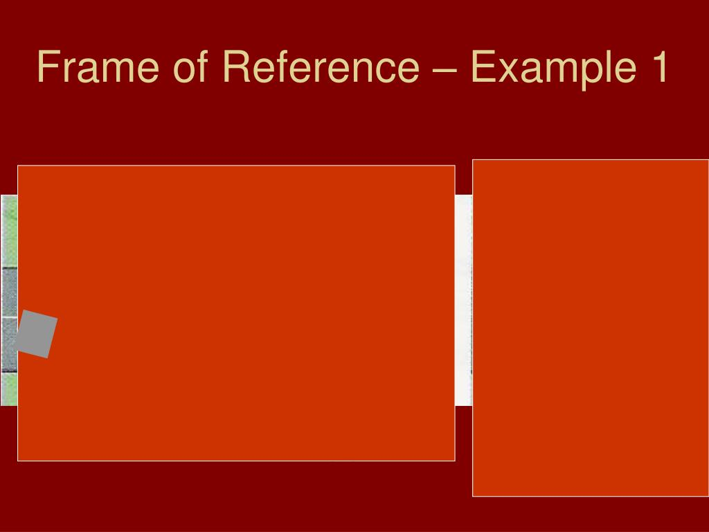 Frame of Reference – Example 1