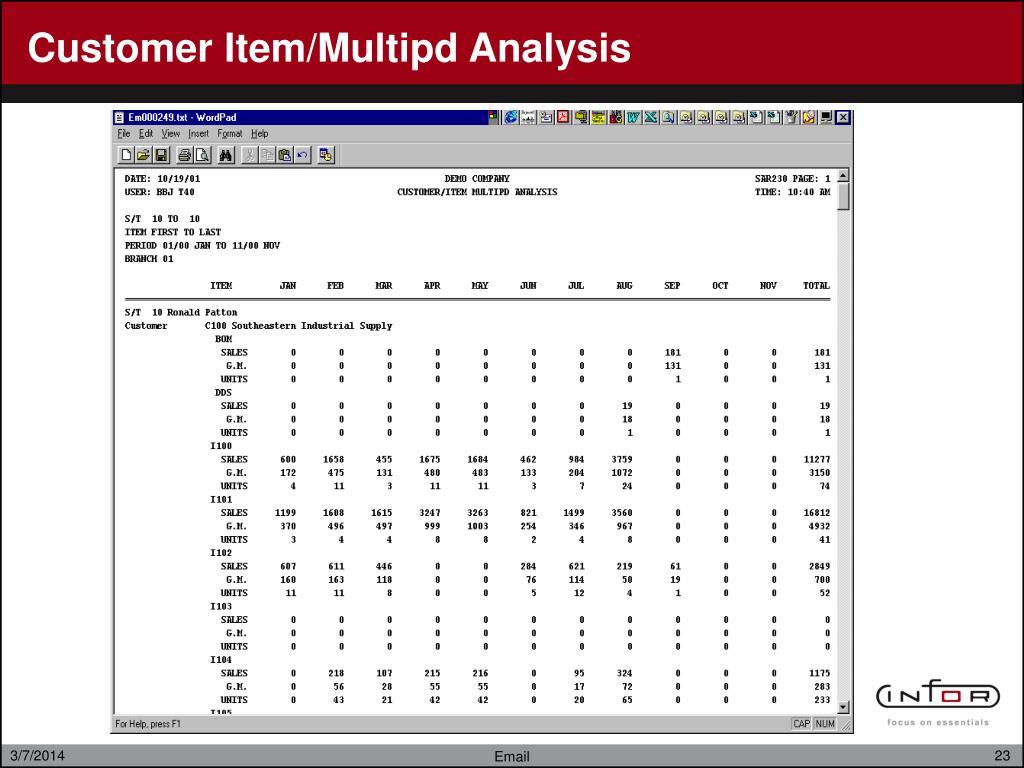 Customer Item/Multipd Analysis
