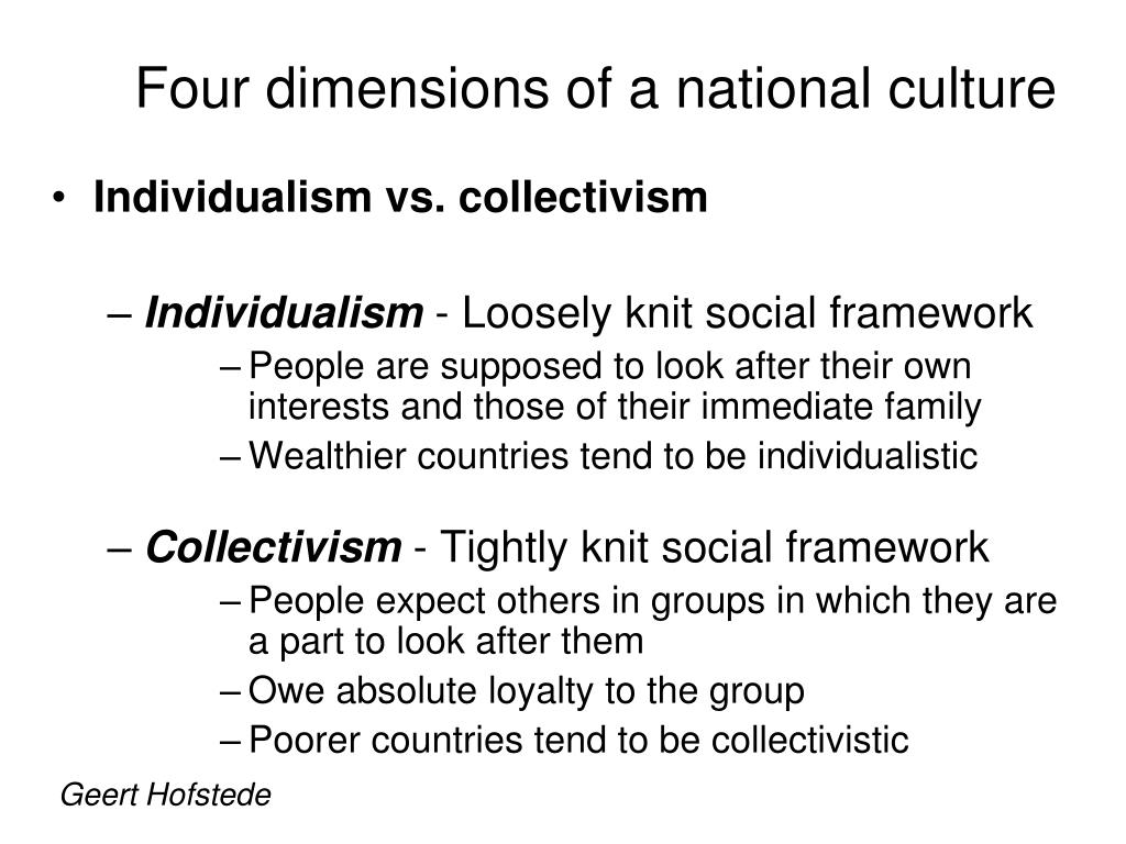dimensions of national culture Hofstede's cultural dimensions by the and, because his research focused solely on ibm employees, he could attribute those patterns to national differences.