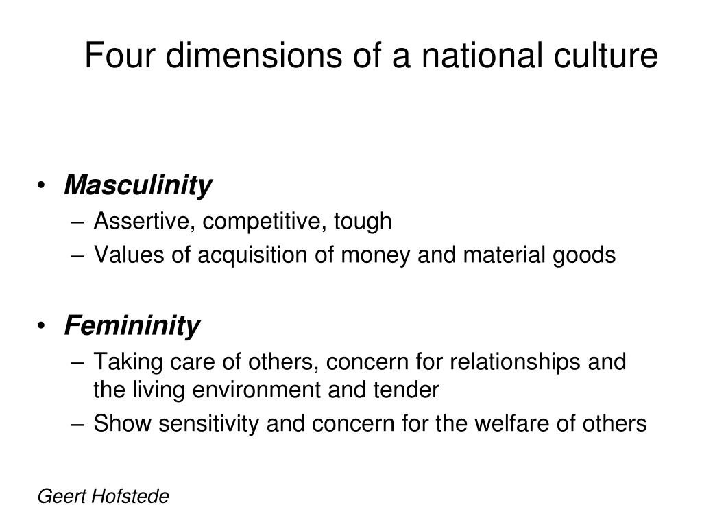 """geert hofstede cultural dimensions west africa Geert hofstede defines it as """"the collective programming of the mind distinguishing the members of one group or category of people from another"""" the """"category"""" can refer to nations, regions within or across nations, ethnicities, religions, occupations, organizations, or the genders."""