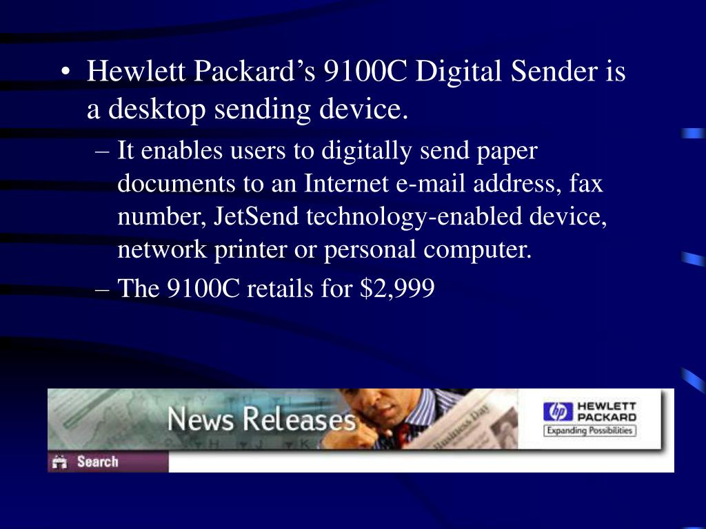 Hewlett Packard's 9100C Digital Sender is a desktop sending device.
