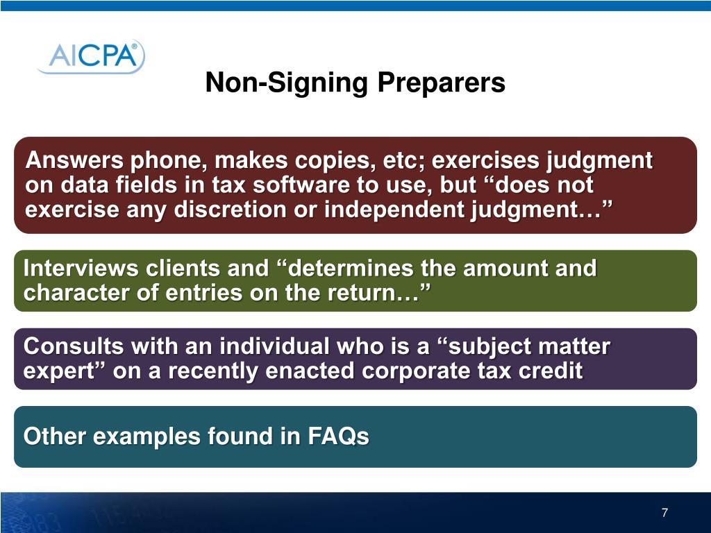 Non-Signing Preparers