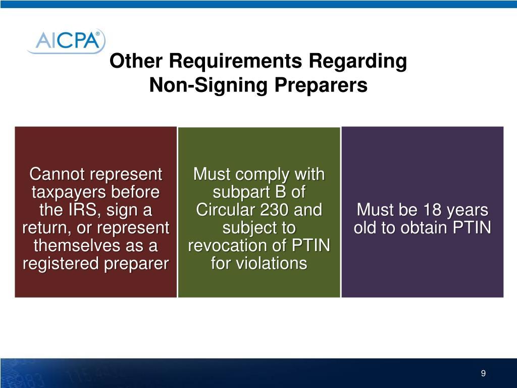 Other Requirements Regarding