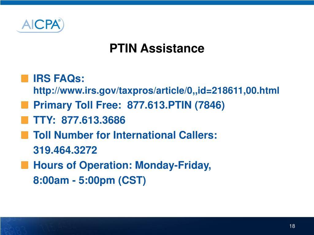 PTIN Assistance