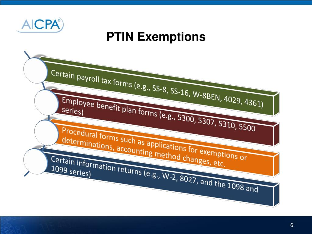 PTIN Exemptions