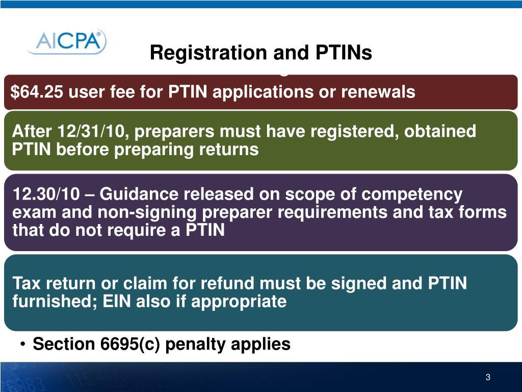 Registration and PTINs