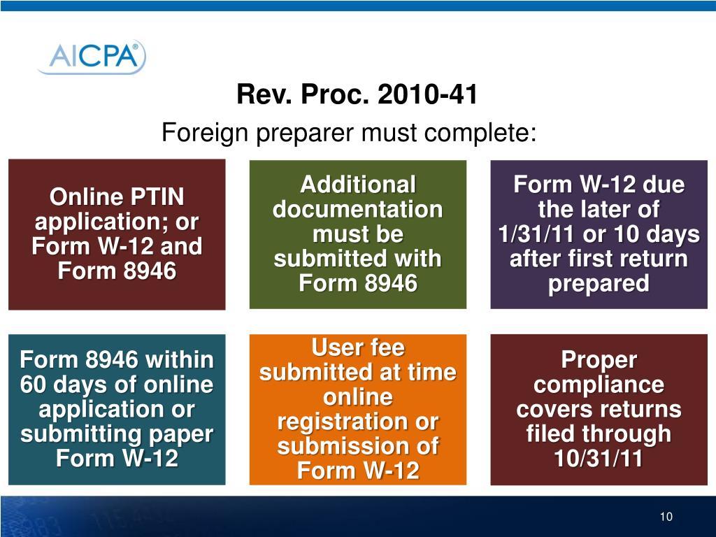 Rev. Proc. 2010-41