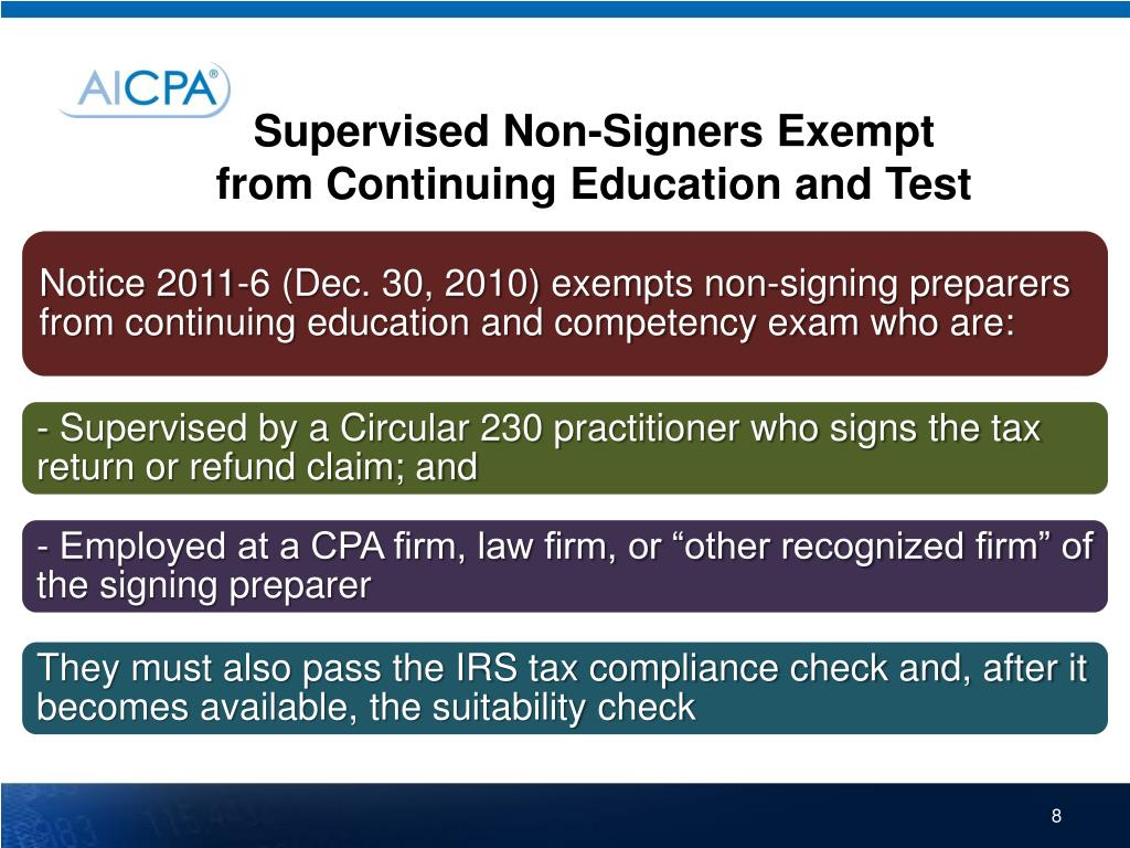 Supervised Non-Signers Exempt from Continuing Education and Test
