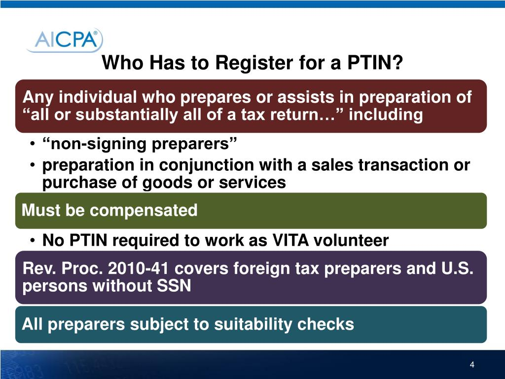 Who Has to Register for a PTIN?