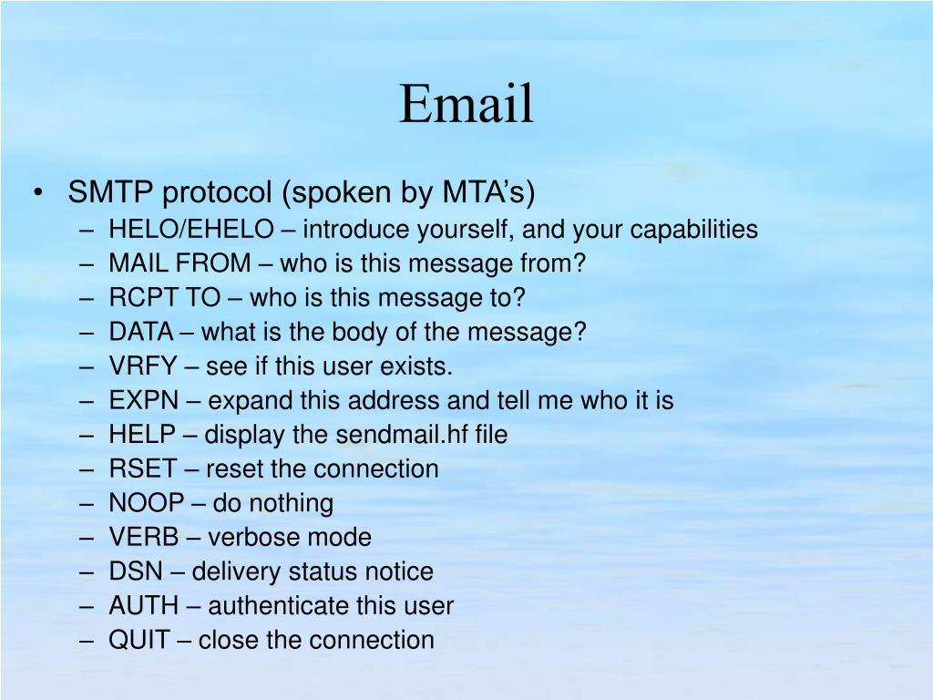 SMTP protocol (spoken by MTA's)