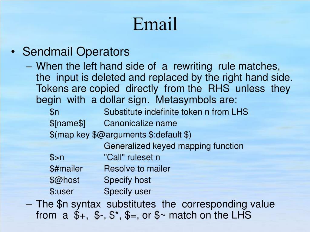 Sendmail Operators