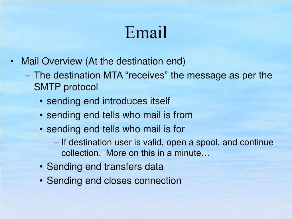 Mail Overview (At the destination end)