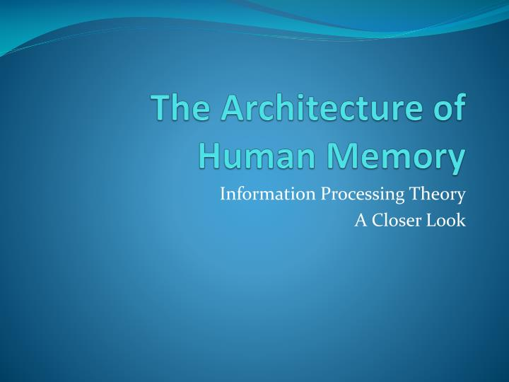 short term memory theory essay We focus on three features that must be addressed by any satisfactory theory of short-term memory first, we examine the evidence for the architecture of short-term memory, with special attention to questions of capacity and how—or whether—short-term memory can be separated from long-term memory.
