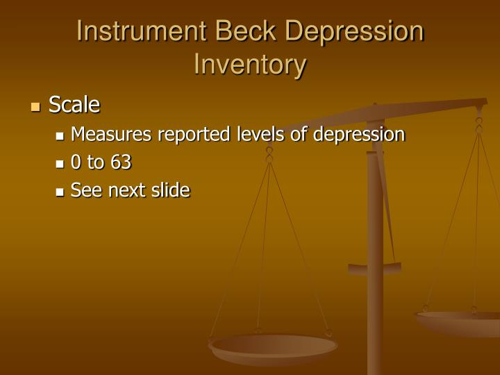 Instrument Beck Depression Inventory