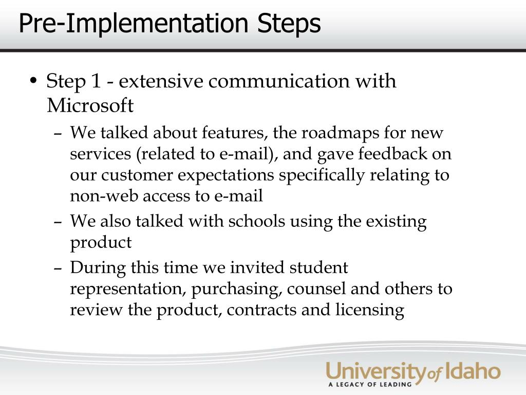 Pre-Implementation Steps
